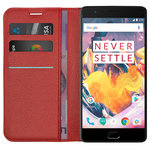 Leather Wallet Case & Card Holder Pouch for OnePlus 3 / 3T - Red